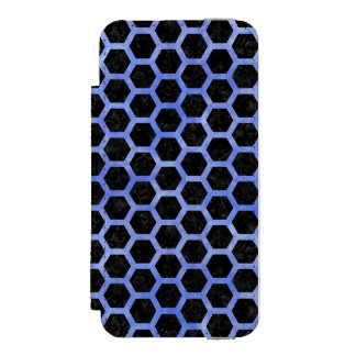 HEXAGON2 BLACK MARBLE & BLUE WATERCOLOR INCIPIO WATSON™ iPhone 5 WALLET CASE