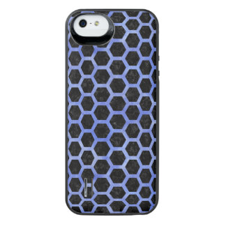 HEXAGON2 BLACK MARBLE & BLUE WATERCOLOR iPhone SE/5/5s BATTERY CASE