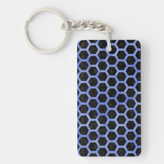 HEXAGON2 BLACK MARBLE & BLUE WATERCOLOR KEYCHAIN