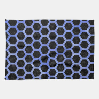 HEXAGON2 BLACK MARBLE & BLUE WATERCOLOR KITCHEN TOWEL