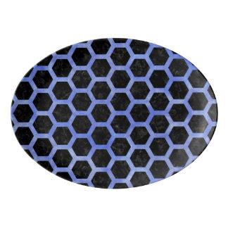 HEXAGON2 BLACK MARBLE & BLUE WATERCOLOR PORCELAIN SERVING PLATTER
