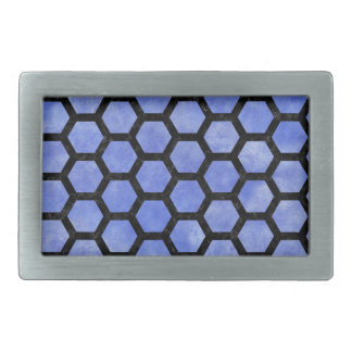 HEXAGON2 BLACK MARBLE & BLUE WATERCOLOR (R) BELT BUCKLE