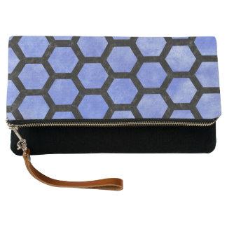 HEXAGON2 BLACK MARBLE & BLUE WATERCOLOR (R) CLUTCH