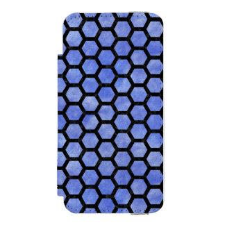 HEXAGON2 BLACK MARBLE & BLUE WATERCOLOR (R) INCIPIO WATSON™ iPhone 5 WALLET CASE