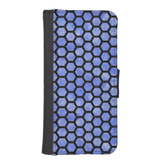 HEXAGON2 BLACK MARBLE & BLUE WATERCOLOR (R) iPhone SE/5/5s WALLET CASE
