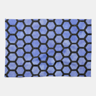 HEXAGON2 BLACK MARBLE & BLUE WATERCOLOR (R) KITCHEN TOWEL