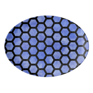 HEXAGON2 BLACK MARBLE & BLUE WATERCOLOR (R) PORCELAIN SERVING PLATTER