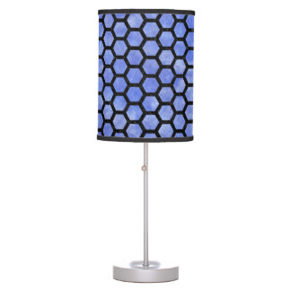 HEXAGON2 BLACK MARBLE & BLUE WATERCOLOR (R) TABLE LAMP