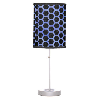 HEXAGON2 BLACK MARBLE & BLUE WATERCOLOR TABLE LAMP