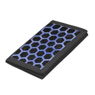 HEXAGON2 BLACK MARBLE & BLUE WATERCOLOR TRI-FOLD WALLET
