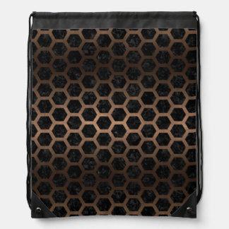 HEXAGON2 BLACK MARBLE & BRONZE METAL DRAWSTRING BAG