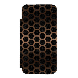 HEXAGON2 BLACK MARBLE & BRONZE METAL INCIPIO WATSON™ iPhone 5 WALLET CASE