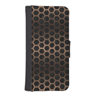 HEXAGON2 BLACK MARBLE & BRONZE METAL iPhone SE/5/5s WALLET CASE