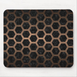 HEXAGON2 BLACK MARBLE & BRONZE METAL MOUSE PAD