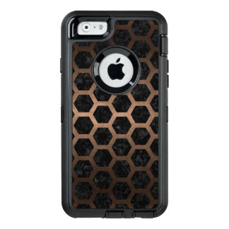 HEXAGON2 BLACK MARBLE & BRONZE METAL OtterBox DEFENDER iPhone CASE