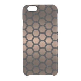 HEXAGON2 BLACK MARBLE & BRONZE METAL (R) CLEAR iPhone 6/6S CASE