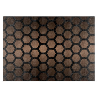 HEXAGON2 BLACK MARBLE & BRONZE METAL (R) CUTTING BOARD