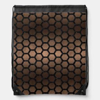 HEXAGON2 BLACK MARBLE & BRONZE METAL (R) DRAWSTRING BAG