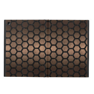 HEXAGON2 BLACK MARBLE & BRONZE METAL (R) iPad AIR COVER