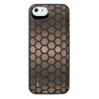 HEXAGON2 BLACK MARBLE & BRONZE METAL (R) iPhone SE/5/5s BATTERY CASE