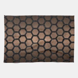 HEXAGON2 BLACK MARBLE & BRONZE METAL (R) KITCHEN TOWELS
