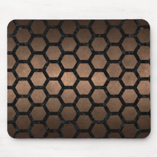 HEXAGON2 BLACK MARBLE & BRONZE METAL (R) MOUSE PAD
