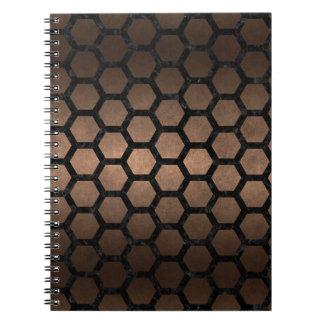HEXAGON2 BLACK MARBLE & BRONZE METAL (R) NOTEBOOK