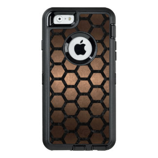 HEXAGON2 BLACK MARBLE & BRONZE METAL (R) OtterBox DEFENDER iPhone CASE