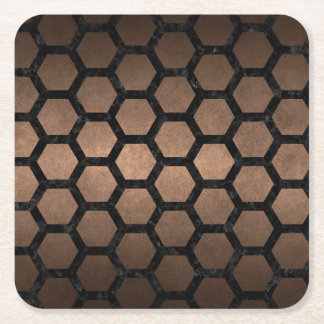 HEXAGON2 BLACK MARBLE & BRONZE METAL (R) SQUARE PAPER COASTER