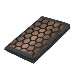 HEXAGON2 BLACK MARBLE & BRONZE METAL (R) TRI-FOLD WALLET