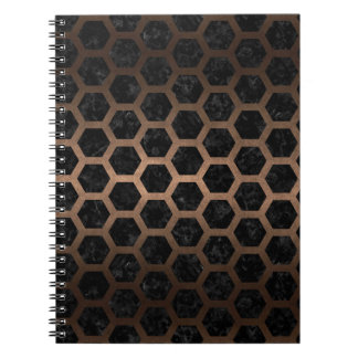 HEXAGON2 BLACK MARBLE & BRONZE METAL SPIRAL NOTEBOOK
