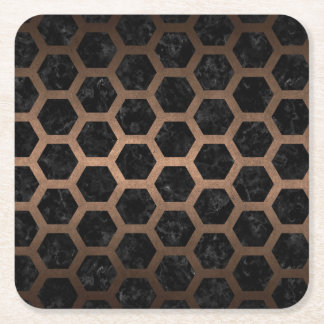 HEXAGON2 BLACK MARBLE & BRONZE METAL SQUARE PAPER COASTER