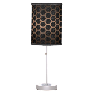 HEXAGON2 BLACK MARBLE & BRONZE METAL TABLE LAMP