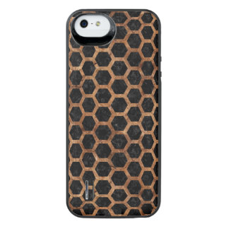 HEXAGON2 BLACK MARBLE & BROWN STONE iPhone SE/5/5s BATTERY CASE