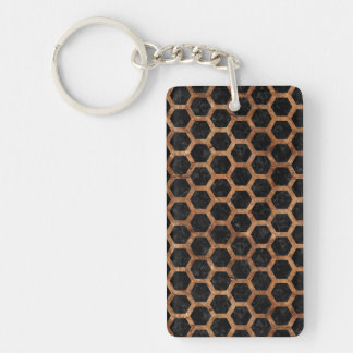 HEXAGON2 BLACK MARBLE & BROWN STONE KEYCHAIN