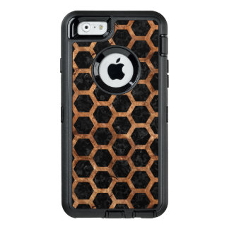 HEXAGON2 BLACK MARBLE & BROWN STONE OtterBox DEFENDER iPhone CASE