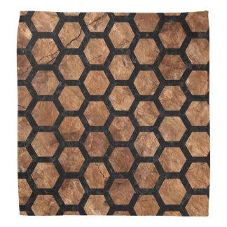 HEXAGON2 BLACK MARBLE & BROWN STONE (R) BANDANA