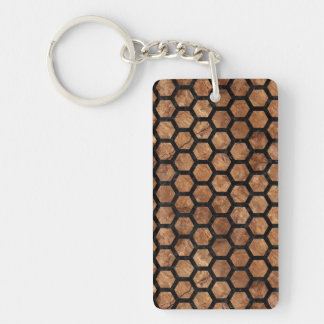 HEXAGON2 BLACK MARBLE & BROWN STONE (R) KEYCHAIN