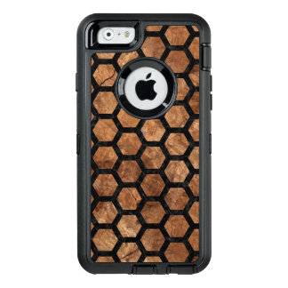 HEXAGON2 BLACK MARBLE & BROWN STONE (R) OtterBox DEFENDER iPhone CASE