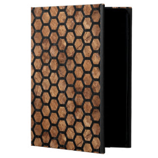 HEXAGON2 BLACK MARBLE & BROWN STONE (R) POWIS iPad AIR 2 CASE