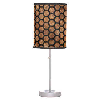 HEXAGON2 BLACK MARBLE & BROWN STONE (R) TABLE LAMP