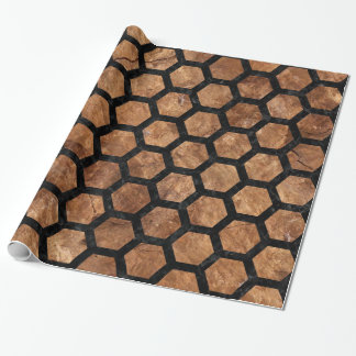 HEXAGON2 BLACK MARBLE & BROWN STONE (R) WRAPPING PAPER