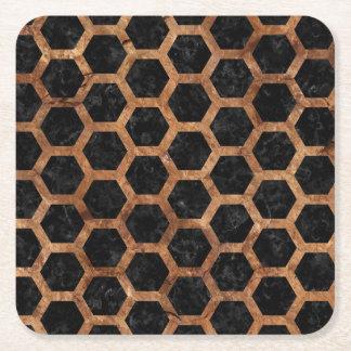 HEXAGON2 BLACK MARBLE & BROWN STONE SQUARE PAPER COASTER