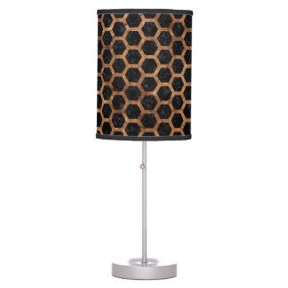 HEXAGON2 BLACK MARBLE & BROWN STONE TABLE LAMP