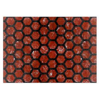 HEXAGON2 BLACK MARBLE & RED MARBLE (R) CUTTING BOARD