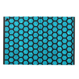 HEXAGON2 BLACK MARBLE & TURQUOISE MARBLE (R) iPad AIR COVER