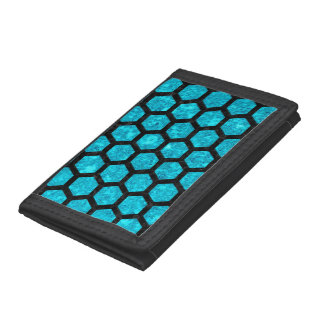 HEXAGON2 BLACK MARBLE & TURQUOISE MARBLE (R) TRI-FOLD WALLETS