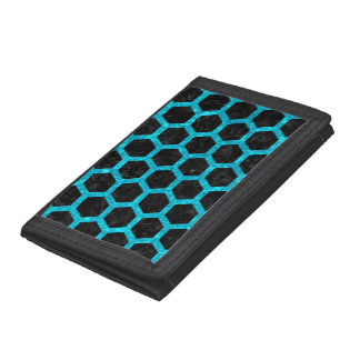HEXAGON2 BLACK MARBLE & TURQUOISE MARBLE TRIFOLD WALLET
