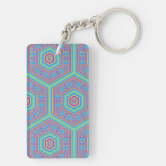 Hexagon abstract pattern Double-Sided rectangular acrylic keychain