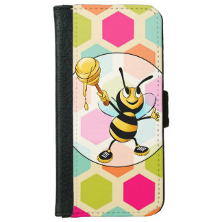 Hexagon Background with Honey Bee iPhone 6 Wallet Case